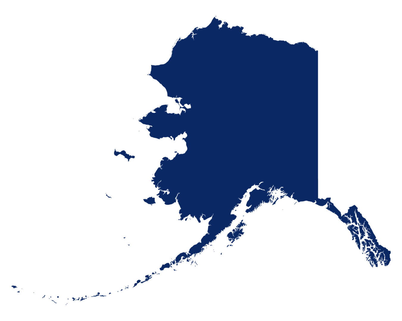 Map of Alaska in blue colour